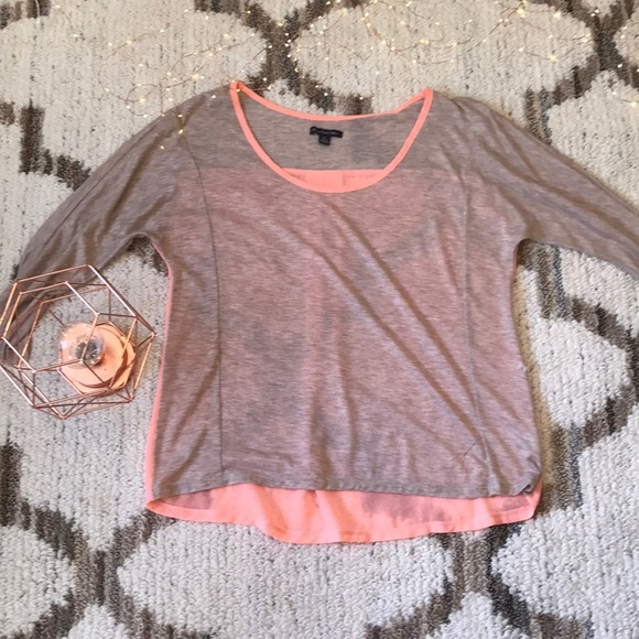 American Eagle Outfitters Tops - American Eagle Taupe and Coral Top